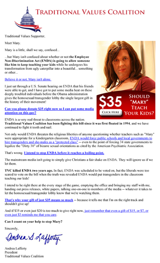 Thumbnail link: Traditional Values Coalition's fundraising email 'Mary Needs Help' (Antitrans fundraising email)