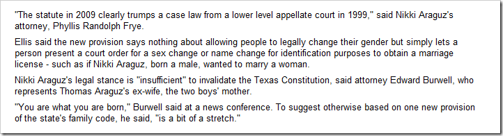 "Houston Chronicle, August 3, 2010 – Texas Constitution says nothing about ""sex change"""