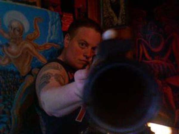 Thumbnail link to Image 31 of LMV Shanko's MySpace Photos: Linda Shanko (GallusMag) pointing a rifle (gun) at the viewer