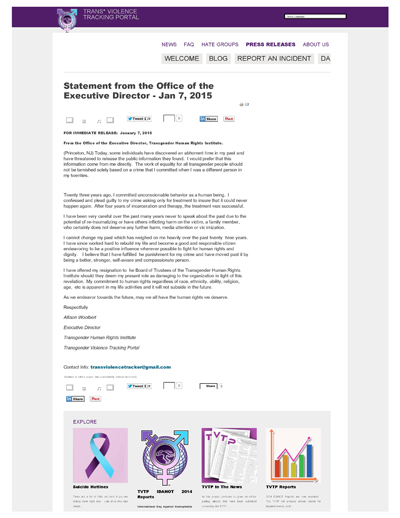 Thumbnail Link: THRI - TVTP Statement From The Office Of The Executive Director dated January 7, 2015