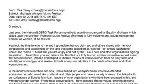 LGBTQ Task Force: Rea Carey Letter To LGBTQ Community regarding MichFest Petition, dated April 10, 2015