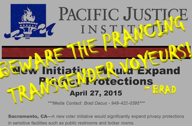 Referencing the Pacific Justice Institute's Brad Dacus quote regarding prancing transgender voyeurs
