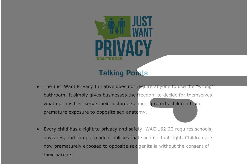 Washington's Just Want Privacy Talking Point Featured Image