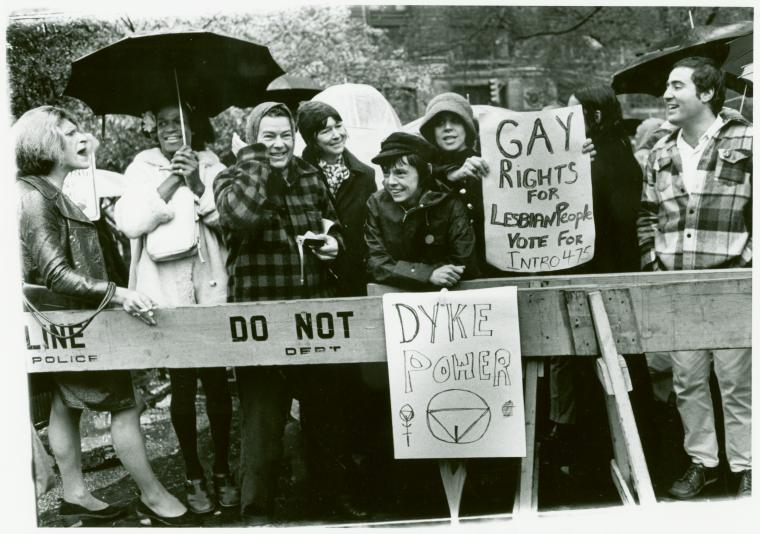 Stonewall instigators Silvia Rivera (far left) and Marsha Johnson (with umbrella) protesting for 475 - a comprehensive LGBT rights bill - which followed the Stonewall Riot.