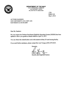 Thumbnail link: Autumn Sandeen's DOD Gender Change Letter, dated May 2nd, 2013