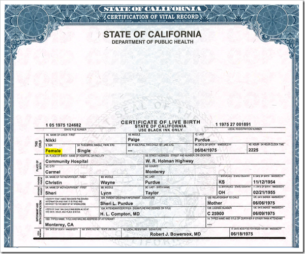 Original - NOT AMENDED – Birth Certificate of Nikki Araguz
