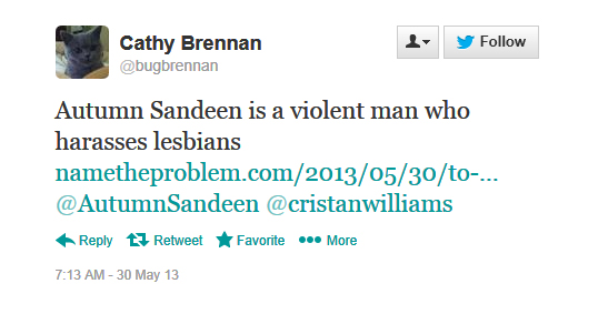 Thumbnail link: Cathy Brennan Twitter Status, May 30, 2013, Calling Autumn Sandeen A Violent Man