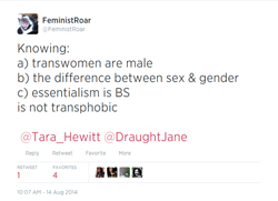 Thumbnail link to Twitter screenshot: FeministRoar's 'Transwomen are male' (August 14, 2014, 10:07 AM)