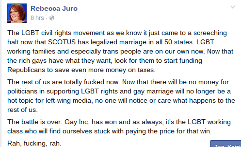 Rebecca Juro The LGBT civil rights movement as we know it just...